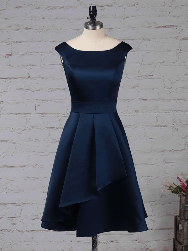 Satin Chiffon Scoop Neck A-line Knee-length Cascading Ruffles Bridesmaid Dresses #LDB01013504
