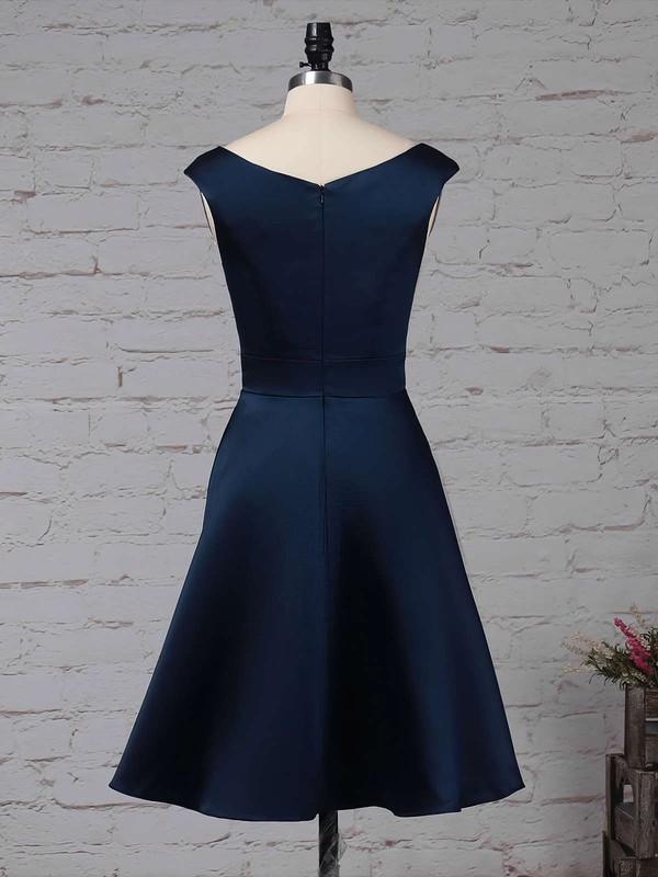 Satin Chiffon Scoop Neck A-line Knee-length Cascading Ruffles Bridesmaid Dresses #LDB01013504