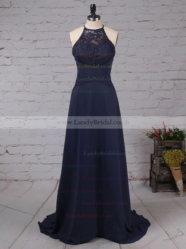 Lace Chiffon Scoop Neck A-line Sweep Train Bow Bridesmaid Dresses #LDB01013505