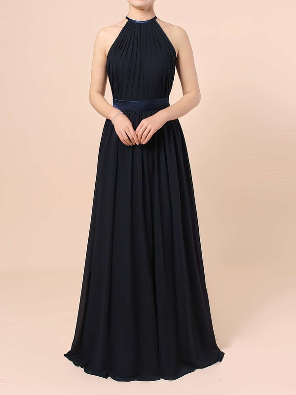 Chiffon Scoop Neck A-line Floor-length Sashes / Ribbons Bridesmaid Dresses #LDB01013506