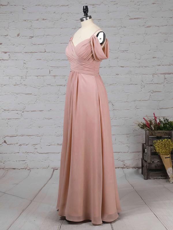 Chiffon V-neck Empire Floor-length Ruffles Bridesmaid Dresses #LDB01013507