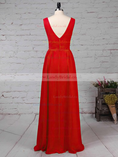 Chiffon V-neck A-line Floor-length Ruffles Bridesmaid Dresses #LDB01013511