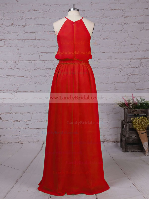 Chiffon Scoop Neck A-line Floor-length Sashes / Ribbons Bridesmaid Dresses #LDB01013512