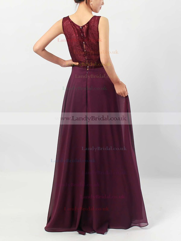 Lace Chiffon V-neck A-line Floor-length Ruffles Bridesmaid Dresses #LDB01013513
