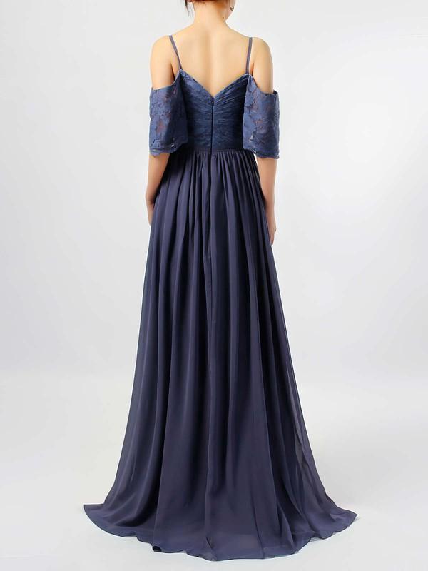 Lace Chiffon V-neck A-line Floor-length Ruffles Bridesmaid Dresses #LDB01013514