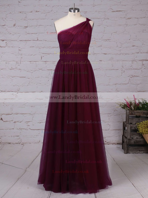 Tulle One Shoulder A-line Floor-length Ruffles Bridesmaid Dresses #LDB01013523