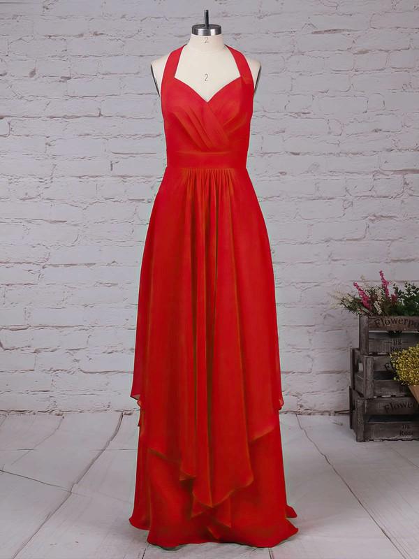 Chiffon V-neck A-line Floor-length Ruffles Bridesmaid Dresses #LDB01013526