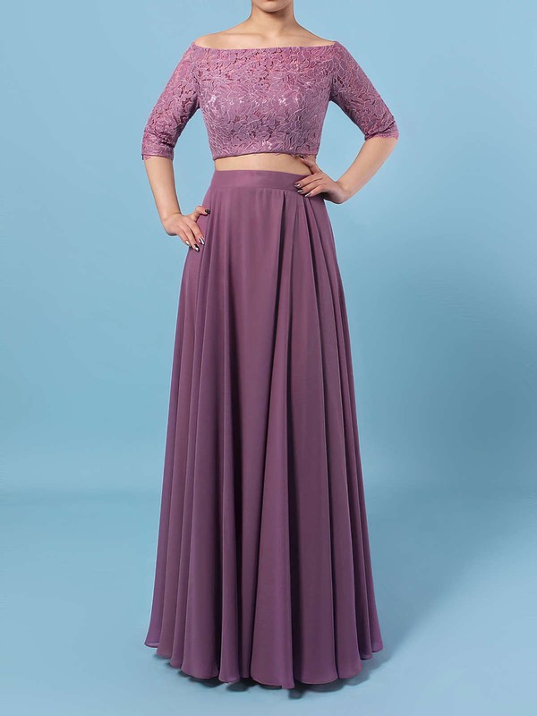 Lace Chiffon Off-the-shoulder A-line Floor-length Bridesmaid Dresses #LDB01013529