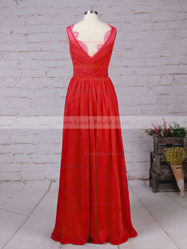 Chiffon V-neck A-line Ankle-length Lace Bridesmaid Dresses #LDB01013532