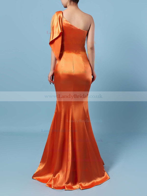 Silk-like Satin One Shoulder Sheath/Column Floor-length Ruffles Bridesmaid Dresses #LDB01013534