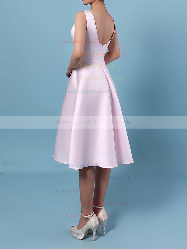 Satin Chiffon Scoop Neck A-line Asymmetrical Bridesmaid Dresses #LDB01013542