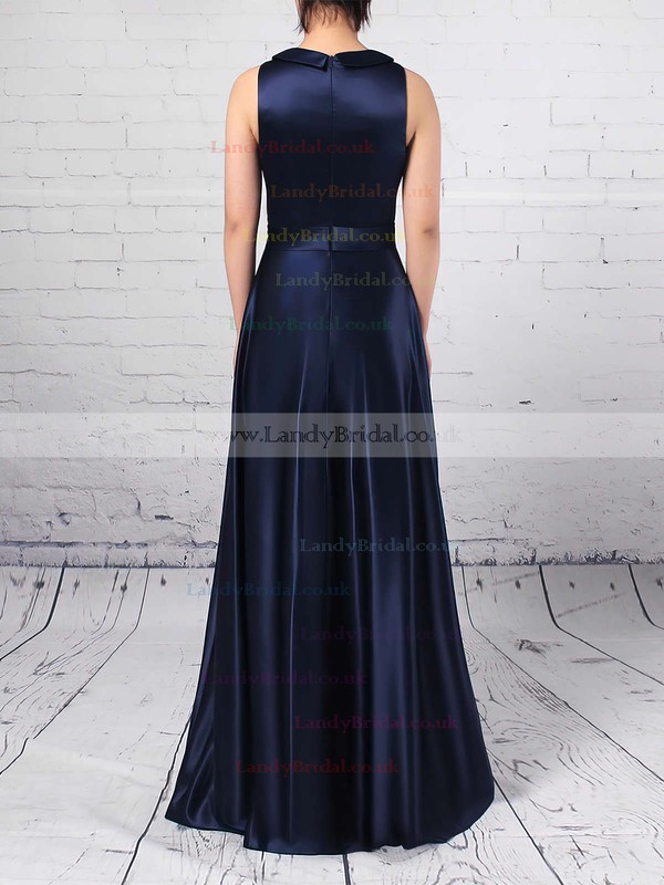 Satin Scoop Neck A-line Floor-length Sashes / Ribbons Bridesmaid Dresses #LDB01013544