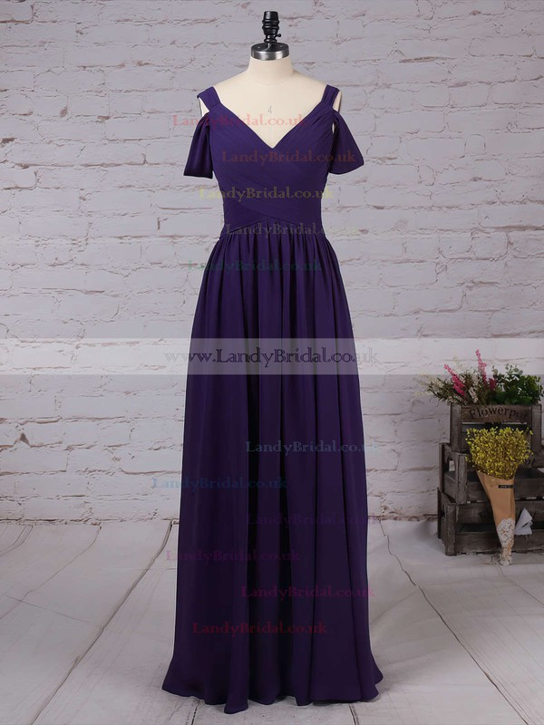 Chiffon V-neck Empire Floor-length Ruffles Bridesmaid Dresses #LDB01013547
