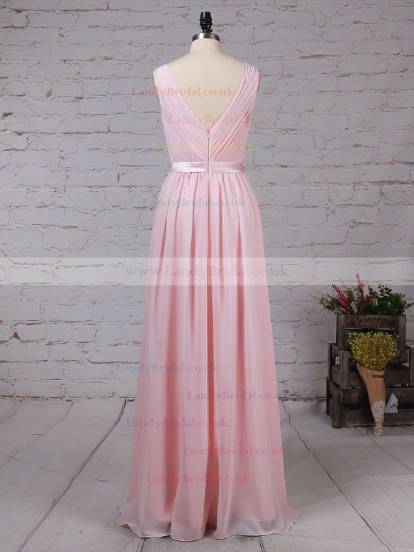 Chiffon Scoop Neck A-line Floor-length Sashes / Ribbons Bridesmaid Dresses #LDB01013550
