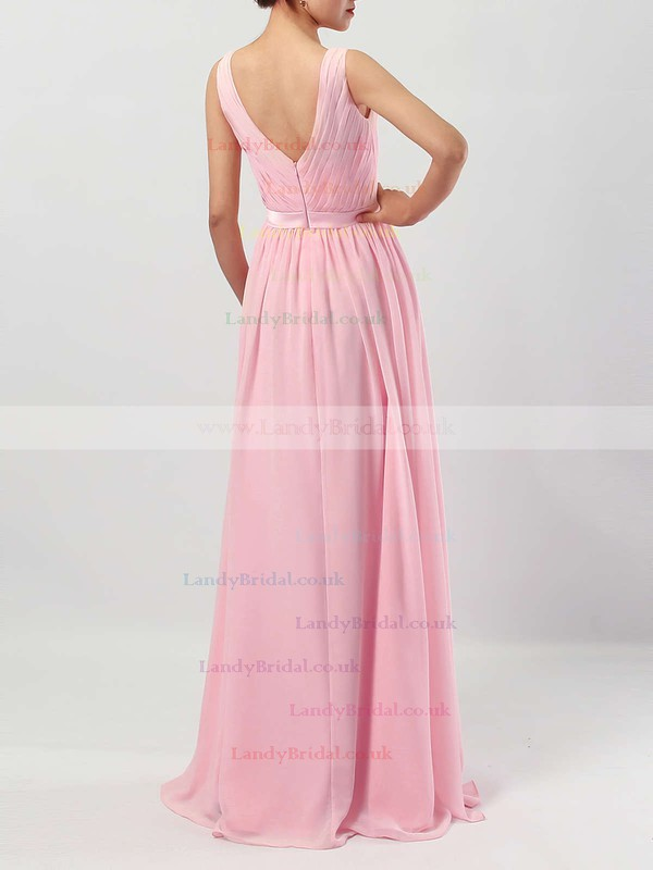 Chiffon Scoop Neck A-line Floor-length Sashes / Ribbons Bridesmaid Dresses #LDB01013550