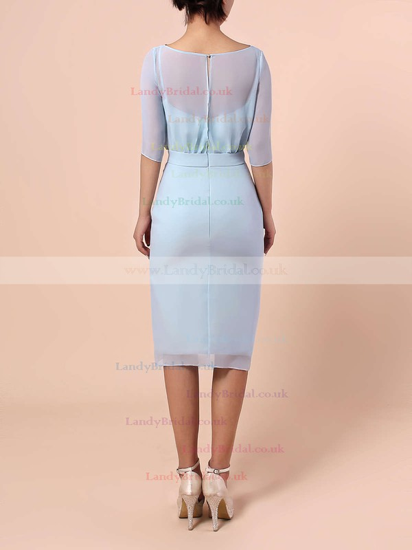 Chiffon Scoop Neck Sheath/Column Knee-length Sashes / Ribbons Bridesmaid Dresses #LDB01013551