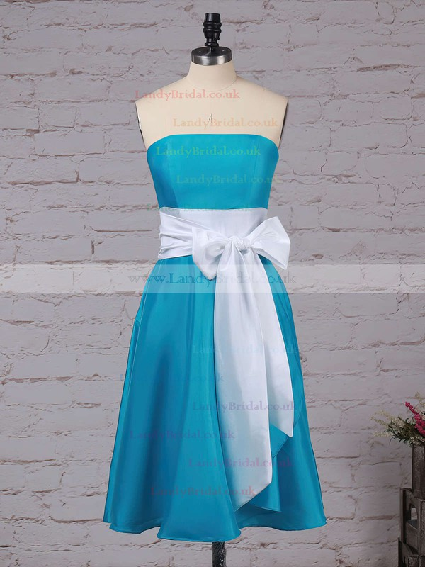 Satin Strapless A-line Knee-length Sashes / Ribbons Bridesmaid Dresses #LDB01013553