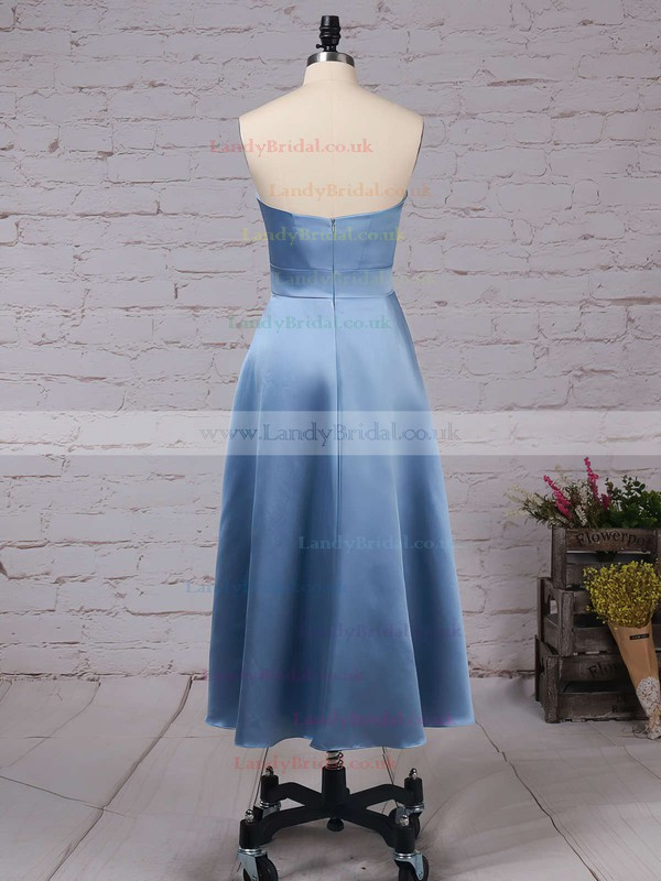 Satin Sweetheart A-line Tea-length Sashes / Ribbons Bridesmaid Dresses #LDB01013555