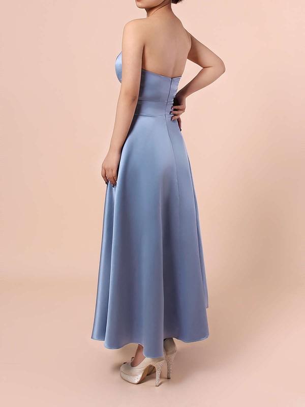 Satin Sweetheart A-line Tea-length Sashes / Ribbons Bridesmaid Dresses #LDB01013555