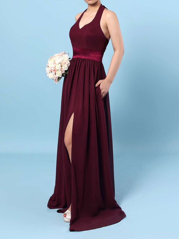 Chiffon Halter A-line Floor-length Sashes / Ribbons Bridesmaid Dresses #LDB01013563