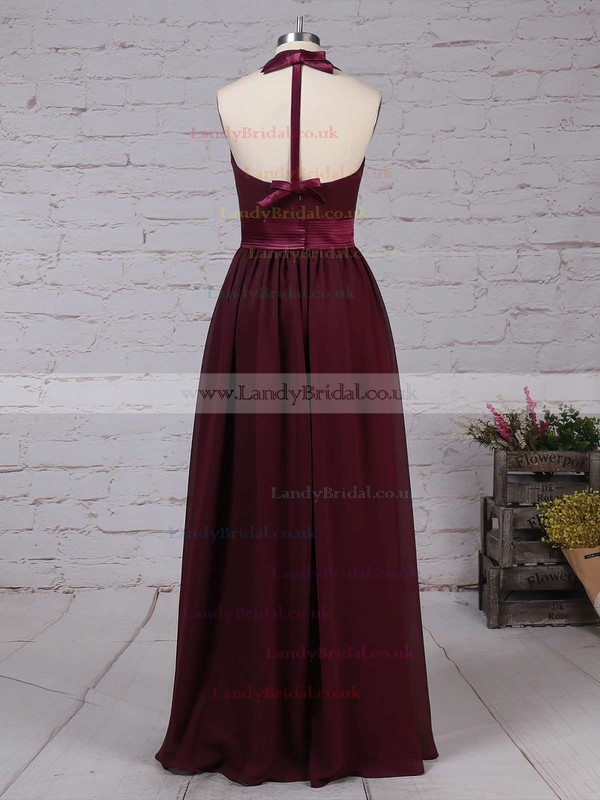 Chiffon Halter A-line Floor-length Sashes / Ribbons Bridesmaid Dresses #LDB01013563