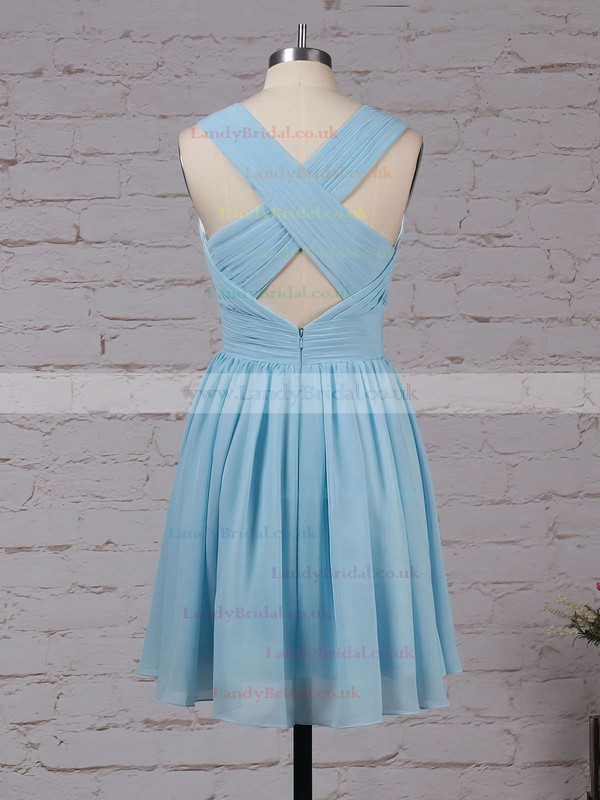 Chiffon V-neck A-line Knee-length Ruffles Bridesmaid Dresses #LDB01013564