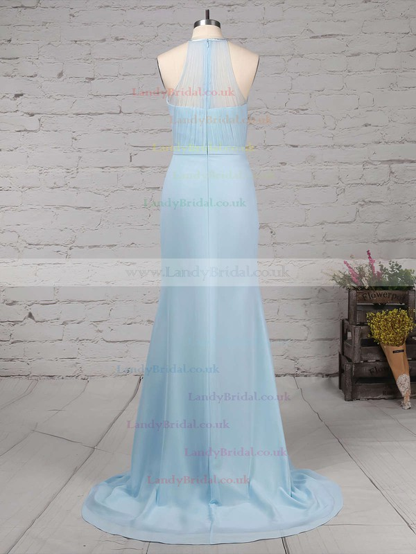 Chiffon Tulle Scoop Neck Trumpet/Mermaid Sweep Train Sashes / Ribbons Bridesmaid Dresses #LDB01013568