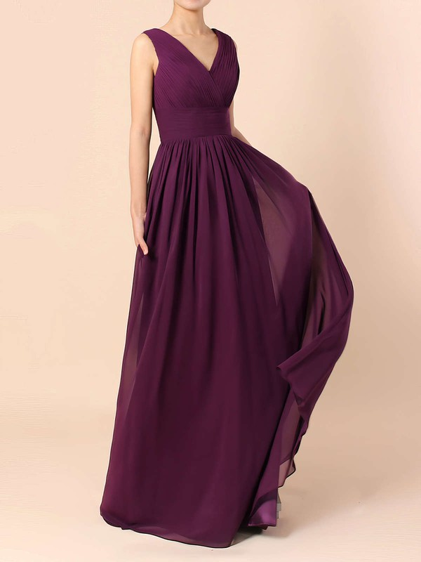 Lace Chiffon V-neck A-line Floor-length Ruffles Bridesmaid Dresses #LDB01013571