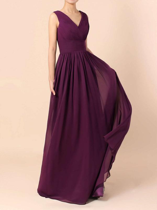 Lace Chiffon V-neck A-line Floor-length Ruffles Bridesmaid Dresses #LDB01013571