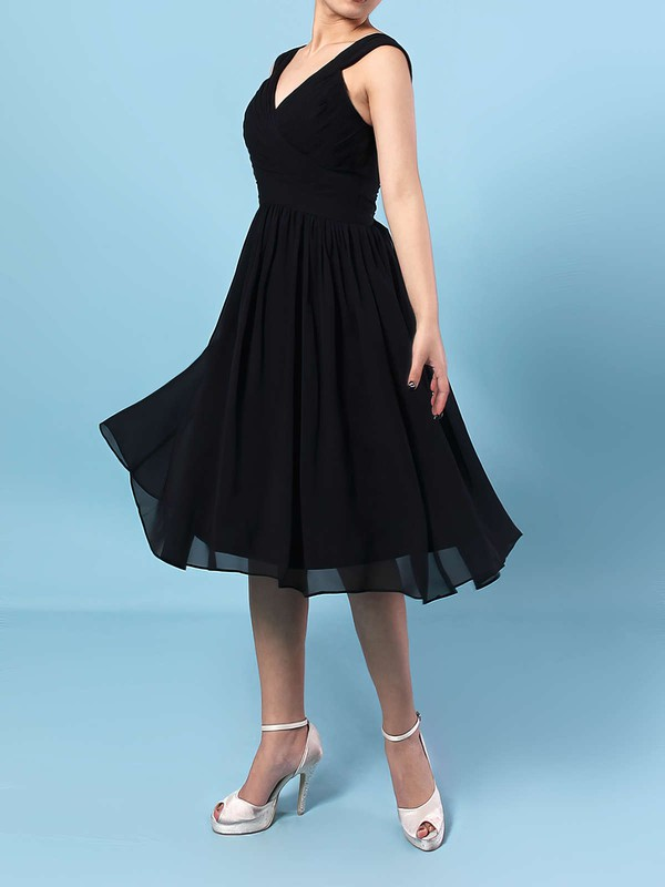Chiffon V-neck A-line Knee-length Sashes / Ribbons Bridesmaid Dresses #LDB01013572