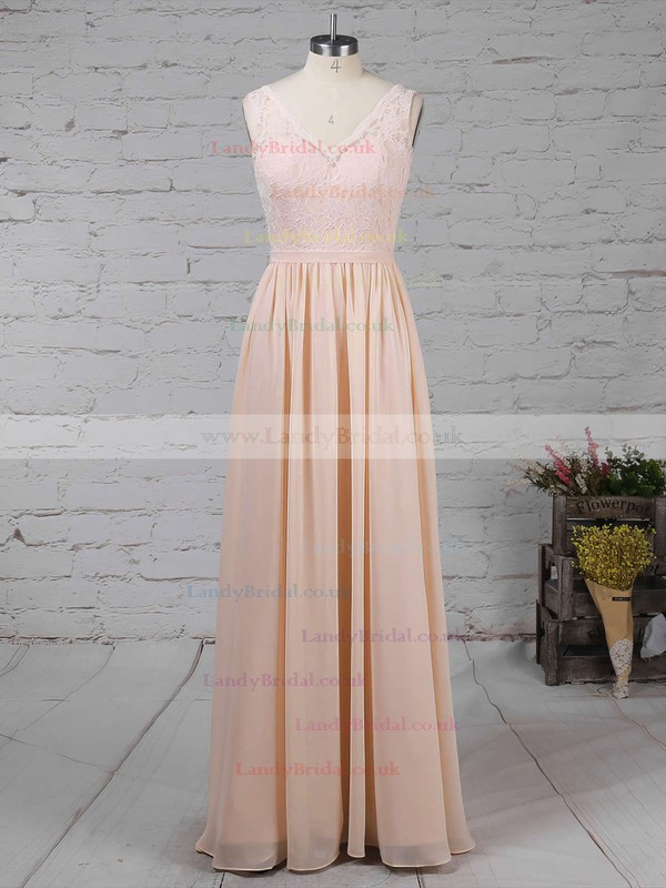 Lace Chiffon V-neck A-line Floor-length Sashes / Ribbons Bridesmaid Dresses #LDB01013574