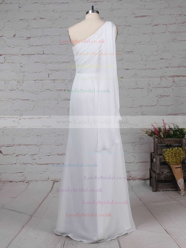 Chiffon One Shoulder Sheath/Column Floor-length Ruffles Bridesmaid Dresses #LDB01013575