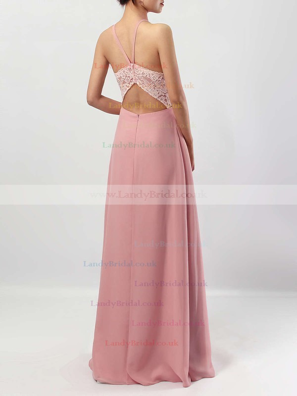 Chiffon Scoop Neck Sheath/Column Floor-length Lace Bridesmaid Dresses #LDB01013576