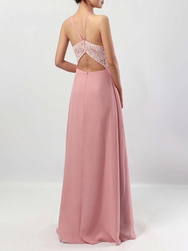 Chiffon Scoop Neck Sheath/Column Floor-length Lace Bridesmaid Dresses #LDB01013576