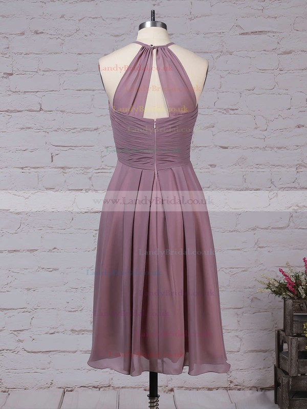 Chiffon Scoop Neck A-line Knee-length Ruffles Bridesmaid Dresses #LDB01013581