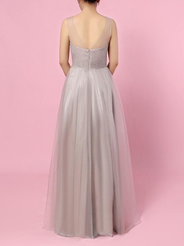 Tulle V-neck A-line Floor-length Ruffles Bridesmaid Dresses #LDB01013583