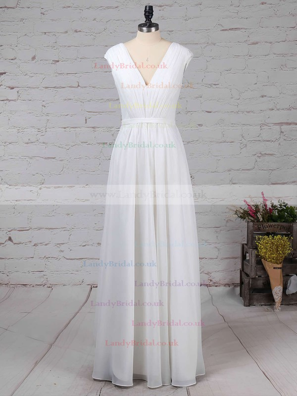Chiffon V-neck A-line Floor-length Ruffles Bridesmaid Dresses #LDB01013587