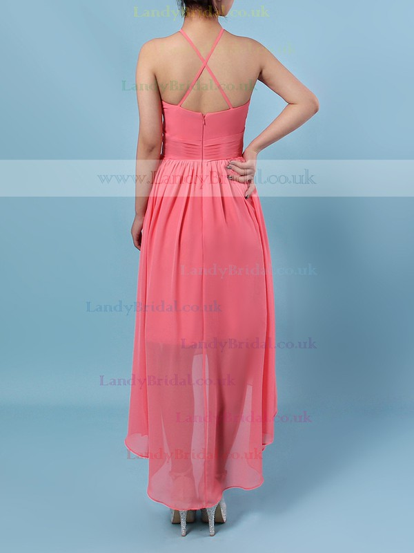 Chiffon Scoop Neck A-line Asymmetrical Ruffles Bridesmaid Dresses #LDB01013590