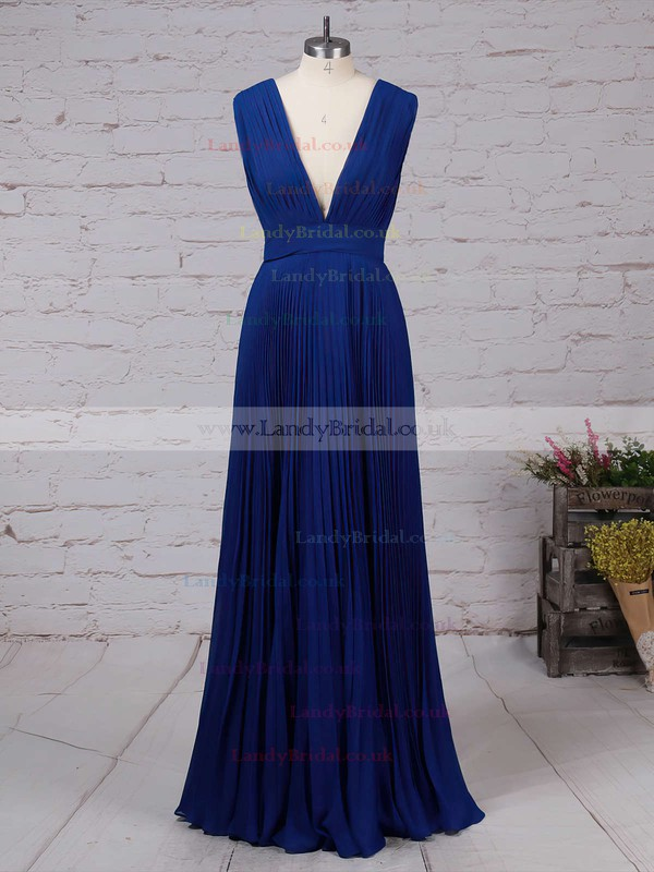 Chiffon V-neck A-line Floor-length Pleats Bridesmaid Dresses #LDB01013591