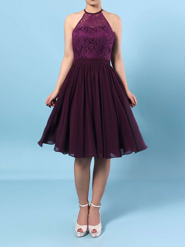 Lace Chiffon Scoop Neck A-line Short/Mini Ruffles Bridesmaid Dresses #LDB01013592
