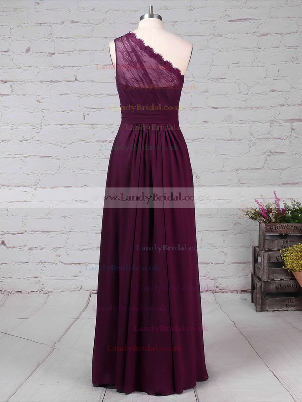 Lace Chiffon One Shoulder A-line Floor-length Ruffles Bridesmaid Dresses #LDB01013594