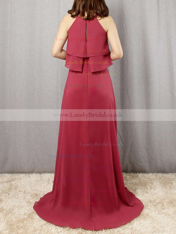 Chiffon Scoop Neck A-line Floor-length Cascading Ruffles Bridesmaid Dresses #LDB01013595