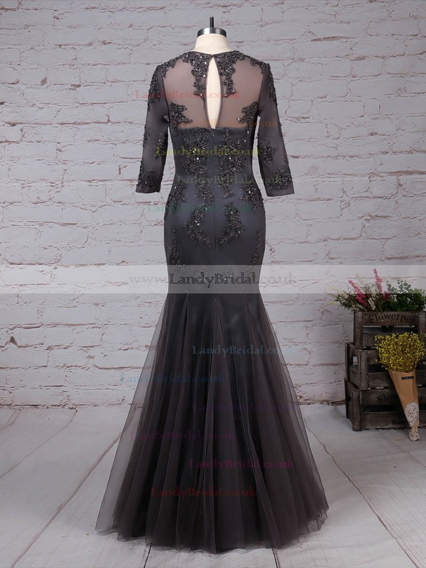 A-line Scoop Neck Tulle Floor-length Appliques Lace Mother of the Bride Dresses #LDB01021665