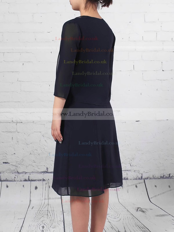 A-line Scoop Neck Chiffon Knee-length Lace Mother of the Bride Dresses #LDB01021714