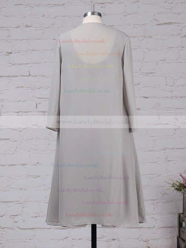 Chiffon Scoop Neck A-line Knee-length Ruffles Mother of the Bride Dresses #LDB01021701