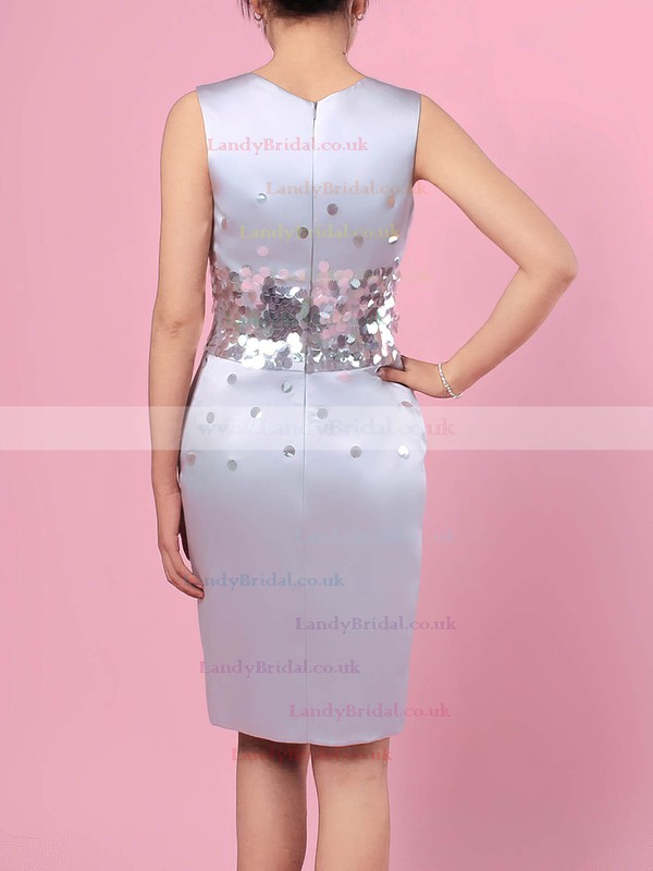 Satin Scoop Neck Sheath/Column Knee-length Sequins Mother of the Bride Dresses #LDB01021709
