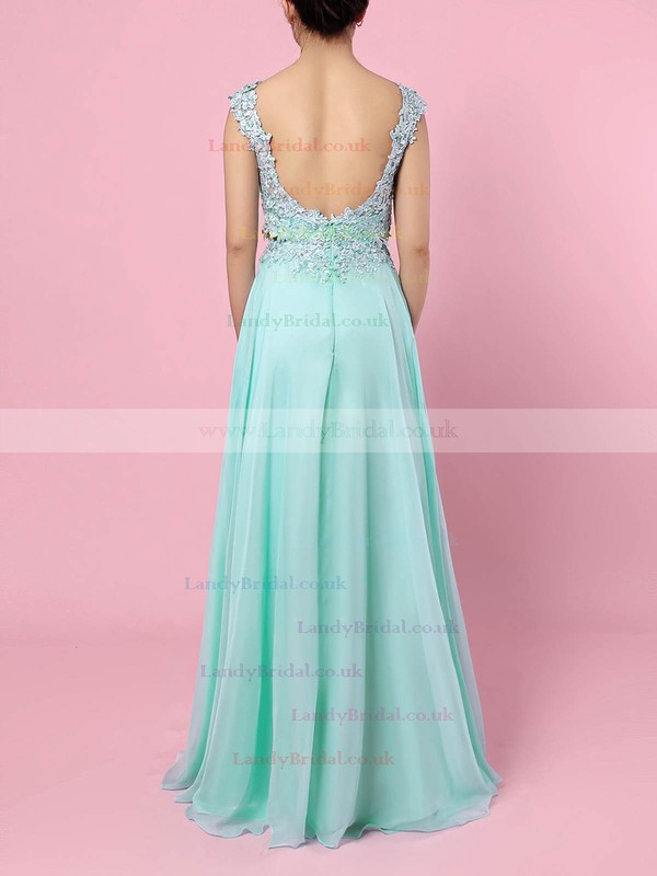 Chiffon Tulle Scoop Neck Sweep Train A-line Split Front Prom Dresses #LDB020105059