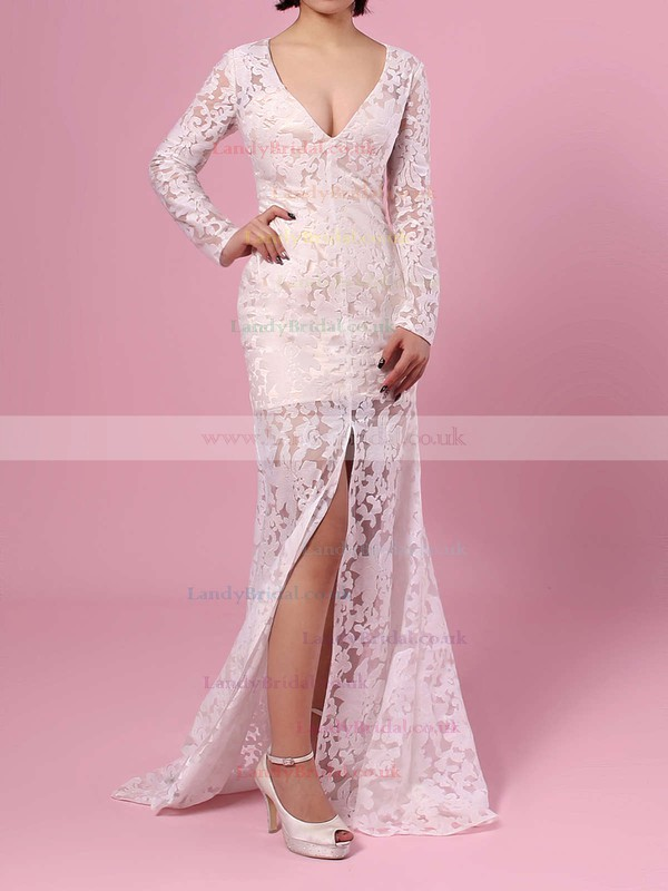 Trumpet/Mermaid V-neck Lace Floor-length Split Front Prom Dresses #LDB020104185