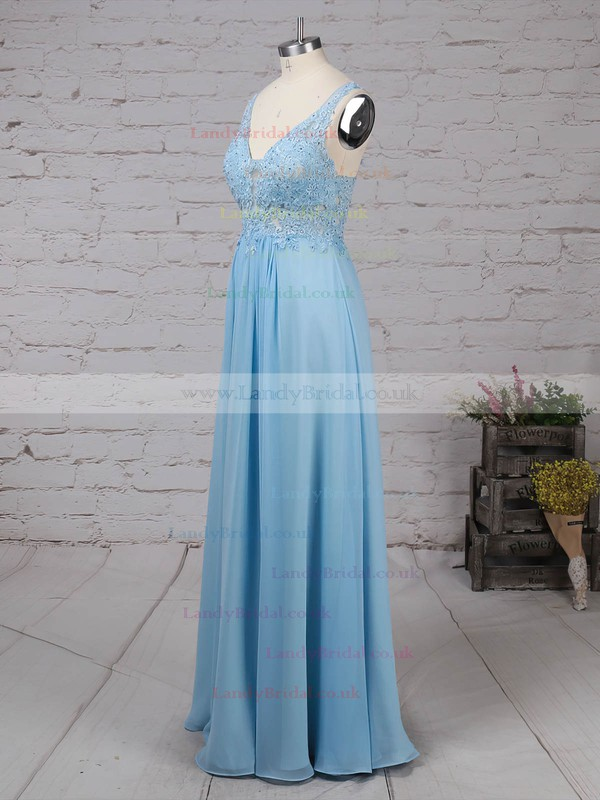 Chiffon Tulle V-neck Floor-length A-line Beading Prom Dresses #LDB020105038