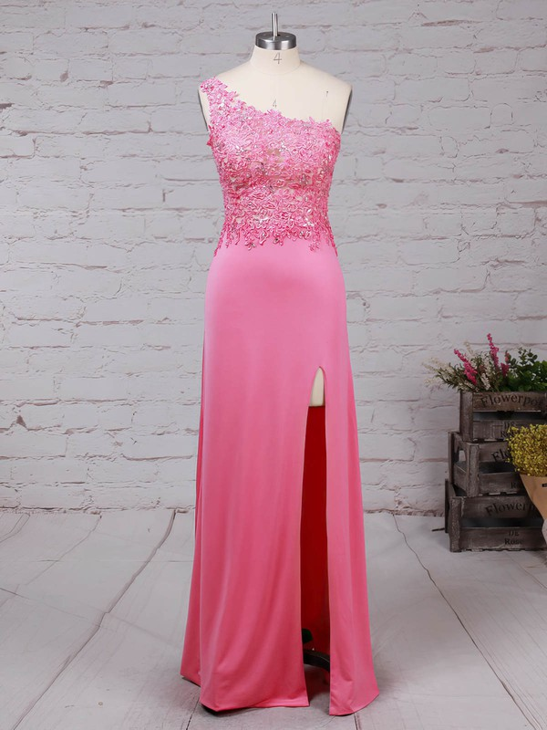Tulle Jersey One Shoulder Floor-length Sheath/Column Beading Prom Dresses #LDB020105041